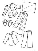 Preschool pajama day worksheets preschool best free for Pajama coloring page