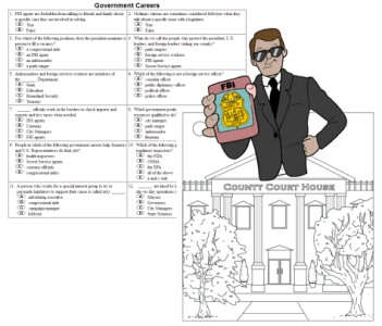 Government Careers Worksheets