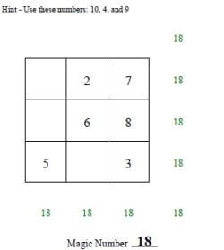 Free Magic Squares Worksheets Edhelper Com
