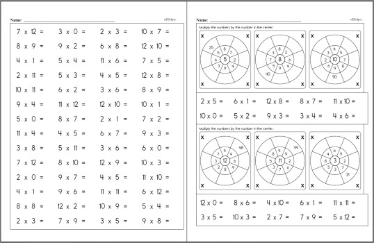 Free Multiplication Worksheets  EdhelperCom