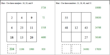 Multiplication Squares Worksheets