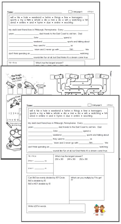 3rd grade Workbooks for April