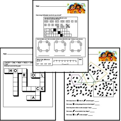 Halloween Word Challenge with Mixed Skills Practice Activity Book
