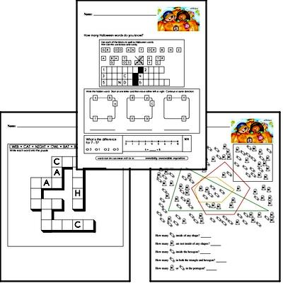 Halloween Word Challenge with Mixed Skills Practice Activity Book