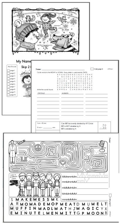 6th grade Workbooks for January