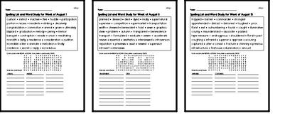 August Spelling Lists