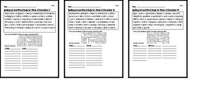 December Spelling Lists