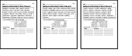 February Spelling Lists