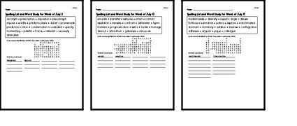July Spelling Lists