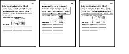 June Spelling Lists