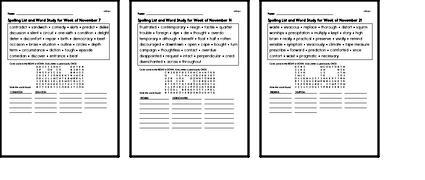 November Spelling Lists