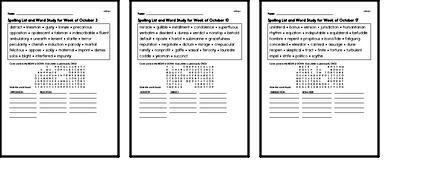 October Spelling Lists