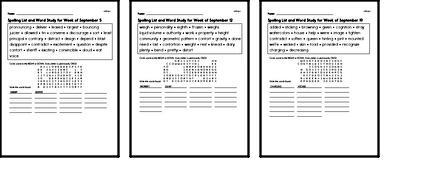 September Spelling Lists