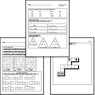 January Spelling<BR>Word Study Workbook<BR>for First Graders