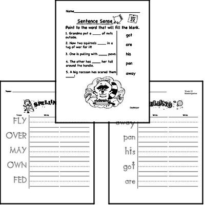 February Spelling<BR>Word Study Workbook<BR>for Kindergarteners