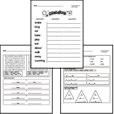 June Spelling<BR>Word Study Workbook<BR>for First Graders