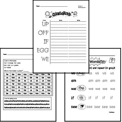 September Spelling<BR>Word Study Workbook<BR>for Kindergarteners