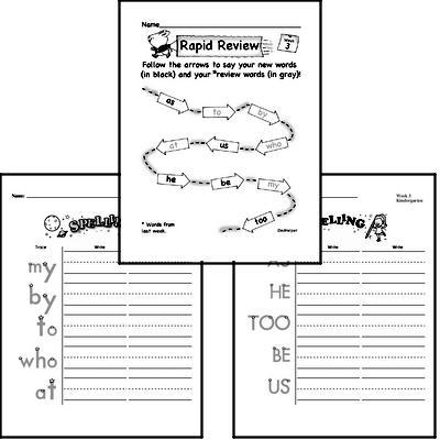 September Spelling<BR>Word Study Workbook<BR>for Kindergarteners