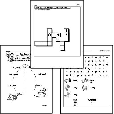 October Spelling<BR>Word Study Workbook<BR>for First Graders
