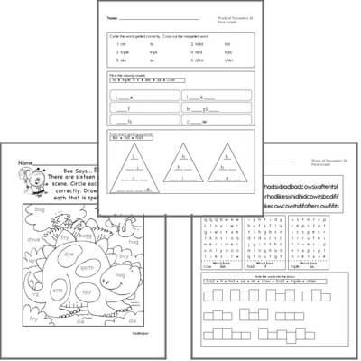 November Spelling<BR>Word Study Workbook<BR>for First Graders