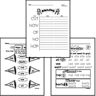 November Spelling<BR>Word Study Workbook<BR>for Kindergarteners