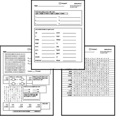 Second Grade Spelling List and Workbook (December book #2)<BR>Week of December 14