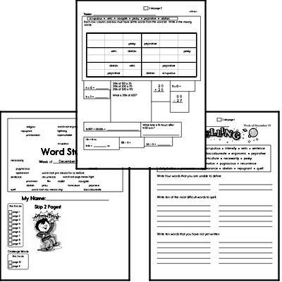 Middle School Spelling List and Workbook (December book #3)<BR>Week of December 17