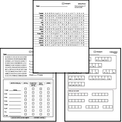 Second Grade Spelling List and Workbook (January book #3)<BR>Week of January 18