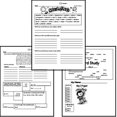 Middle School Spelling List and Workbook (May book #1)<BR>Week of May 3