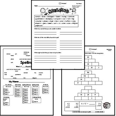 Third Grade Spelling List and Workbook (July book #5)<BR>Week of July 29