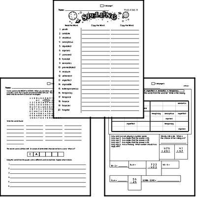 High School Spelling List and Workbook (July book #5)<BR>Week of July 29