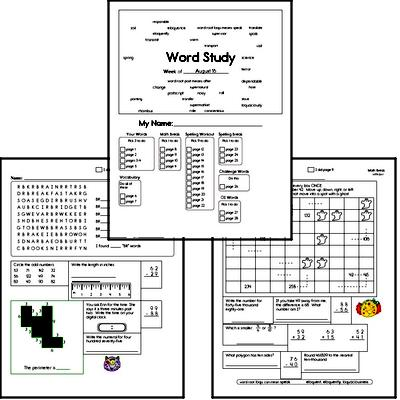 Fourth Grade Spelling List and Workbook (August book #2)<BR>Week of August 10