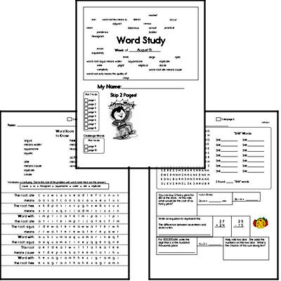 Middle School Spelling List and Workbook (August book #2)<BR>Week of August 10