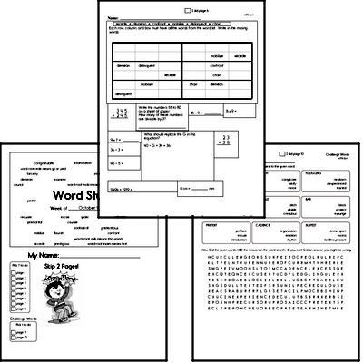 Middle School Spelling List and Workbook (October book #1)<BR>Week of October 5