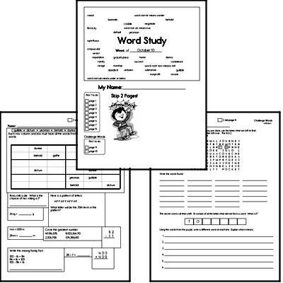High School Spelling List and Workbook (October book #2)<BR>Week of October 12