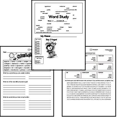 High School Spelling List and Workbook (October book #4)<BR>Week of October 25