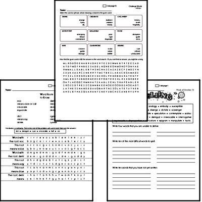 High School Spelling List and Workbook (November book #5)<BR>Week of November 30
