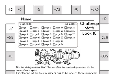Weekly Math Worksheets for November 4