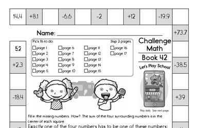 Weekly Math Worksheets for June 20