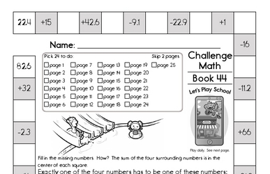 Weekly Math Worksheets for July 1