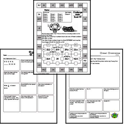 Weekly Math Worksheets for August 9
