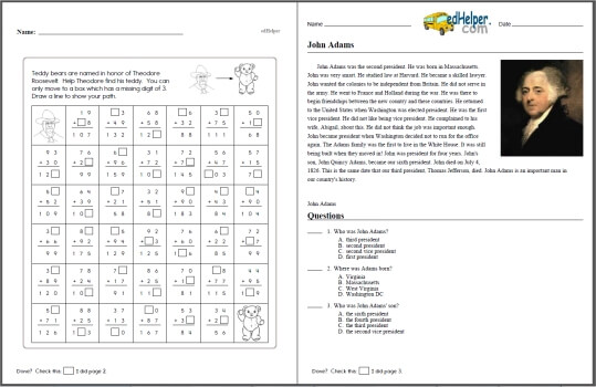 Presidents Day United States Presidents Theme Unit and – President Worksheets