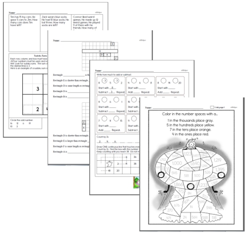 second grade math homework review pages