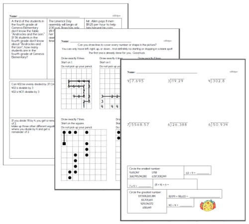 sixth grade math homework review pages