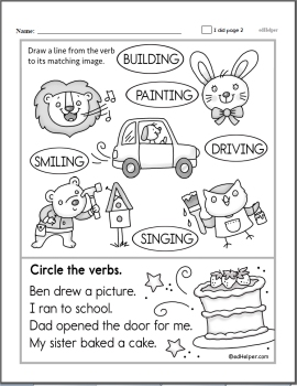 Verb Worksheets | edHelper.com