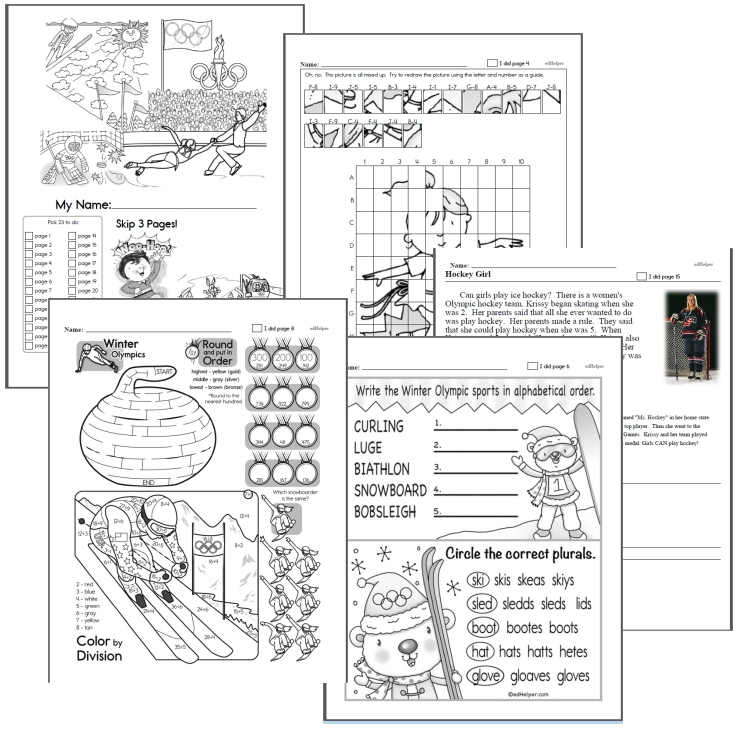 free winter olympics worksheets for kids  edhelpercom winter olympics worksheets workbook