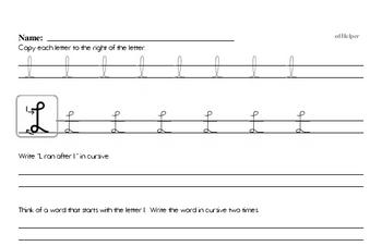 Cursive Worksheets for Second Graders