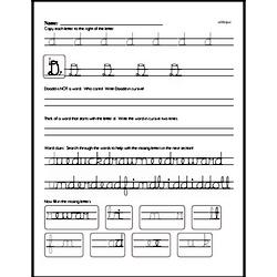 How to write cursive uppercase D workbook.
