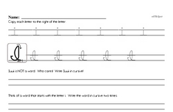 How to write cursive uppercase I workbook.