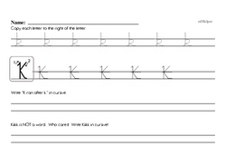 How to write cursive uppercase K workbook.